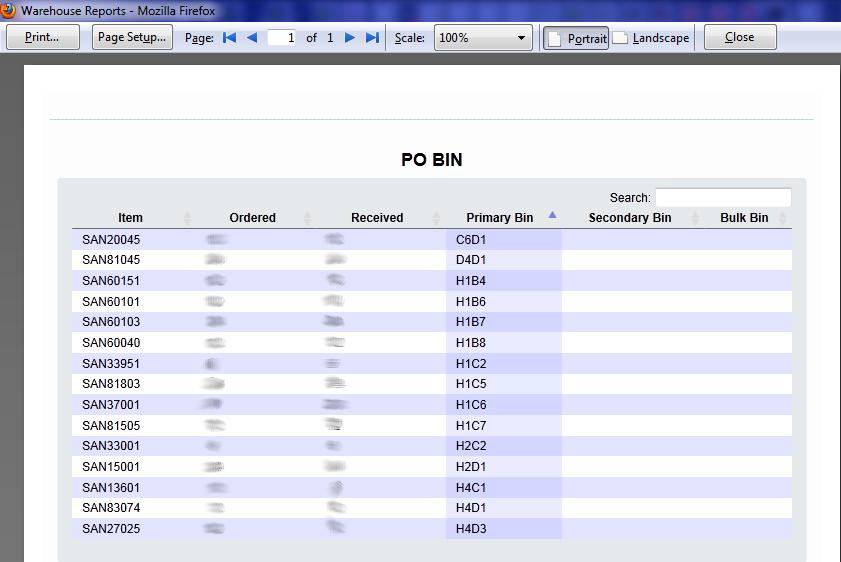 PO Bin Results Print Preview