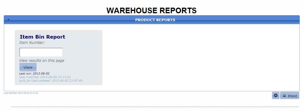 Warehouse Reports